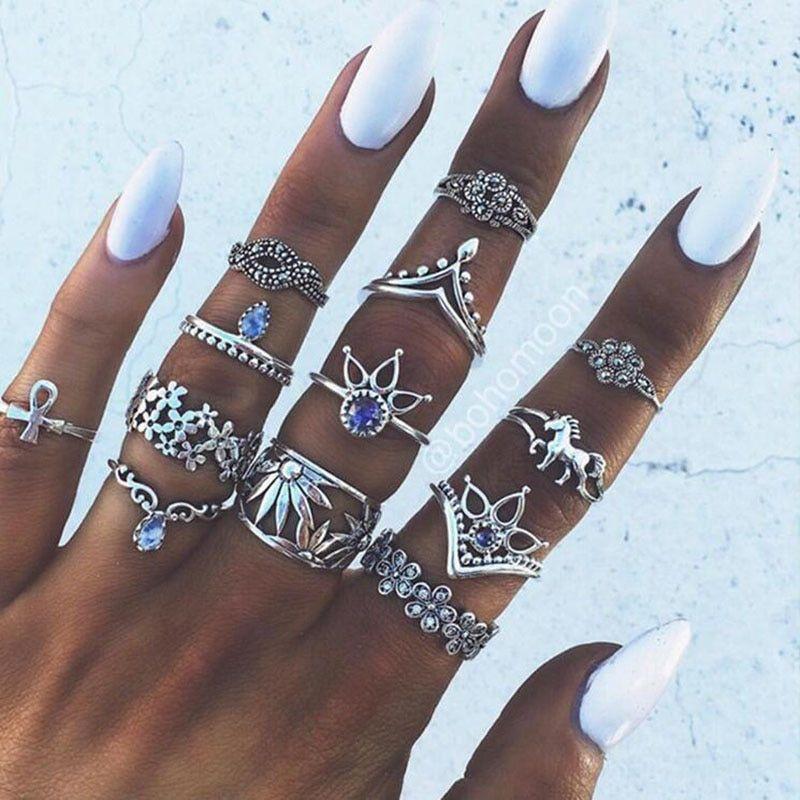 13PCS//set BOHO Moon /& Star Knuckle Opal Finger Ring Set Crystal Crown Midi Rings