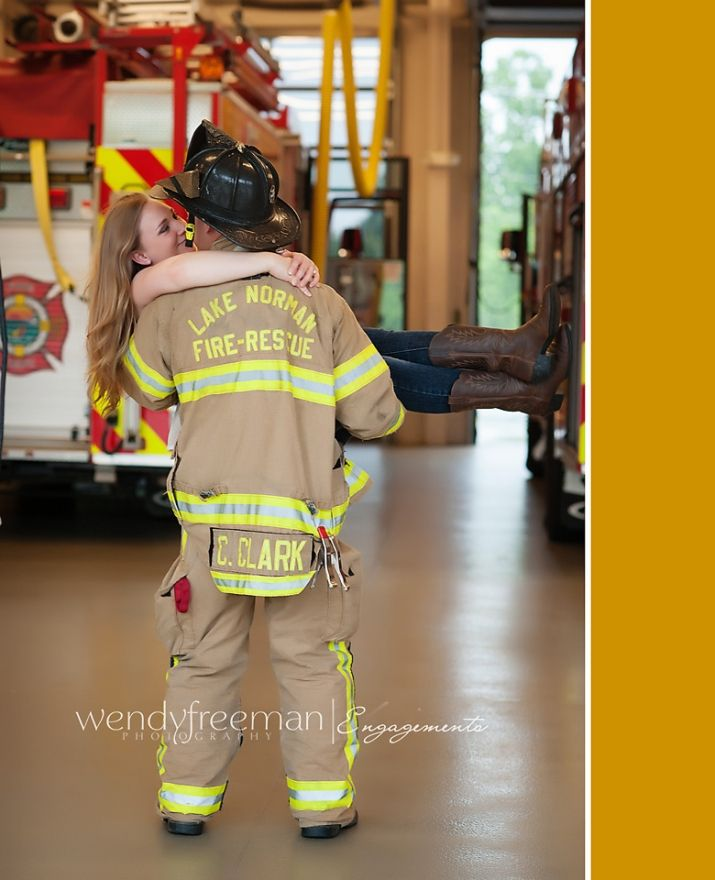 Firefighter Wedding Themes Ideas: Firefighter Holding Fiance At Lake Norman Fire Department
