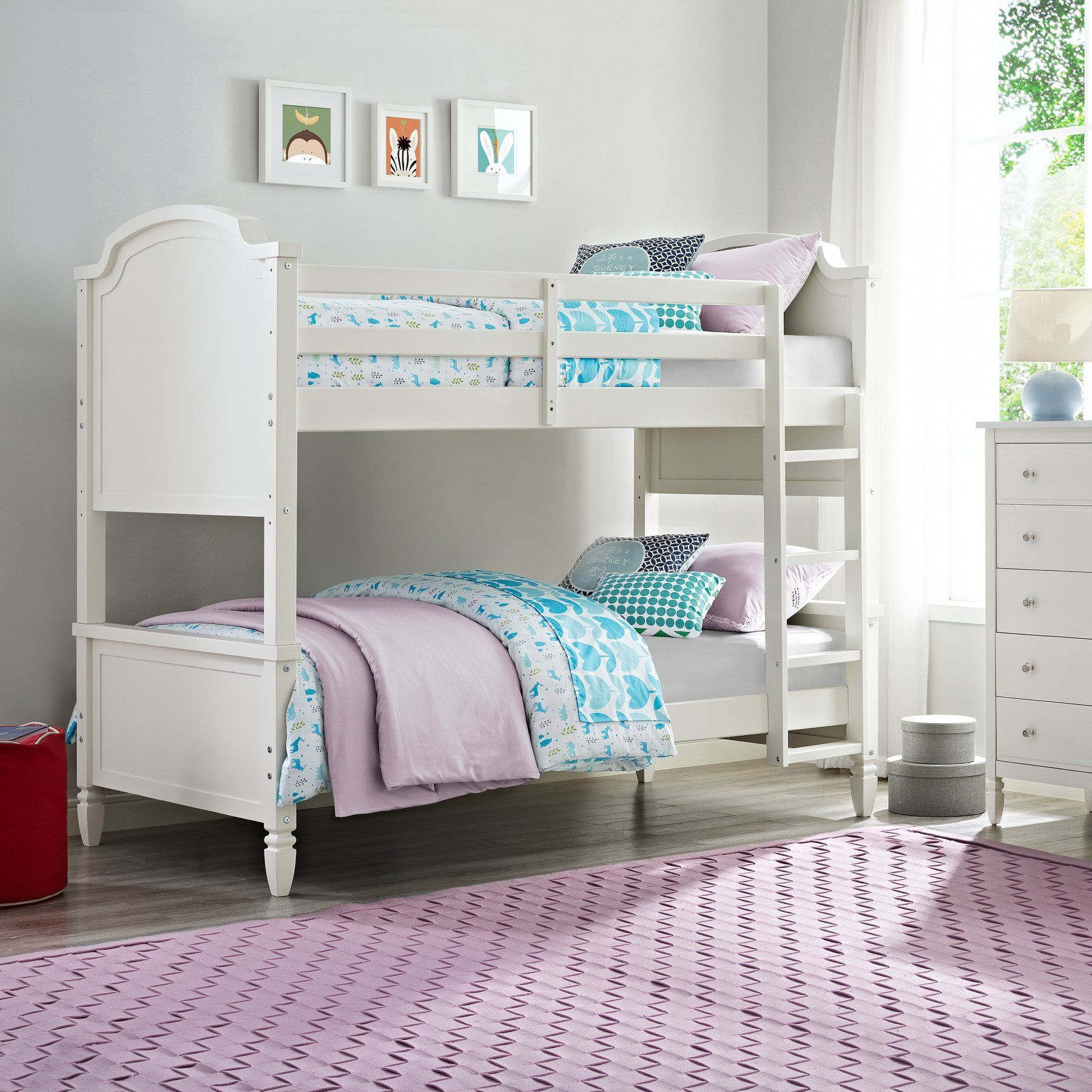 Loft over bedroom  Dorel Living Vivienne Twin over Twin Bunk Bed  White  DLBB