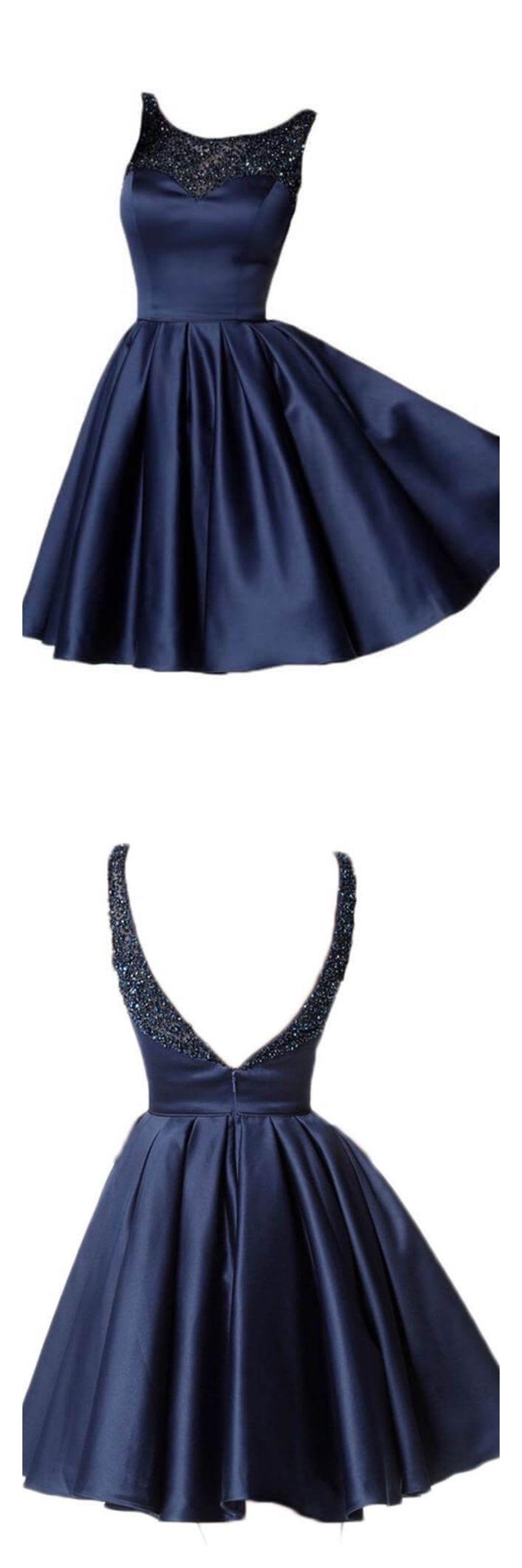 Navy blue short satin homecoming dresses with beadinged