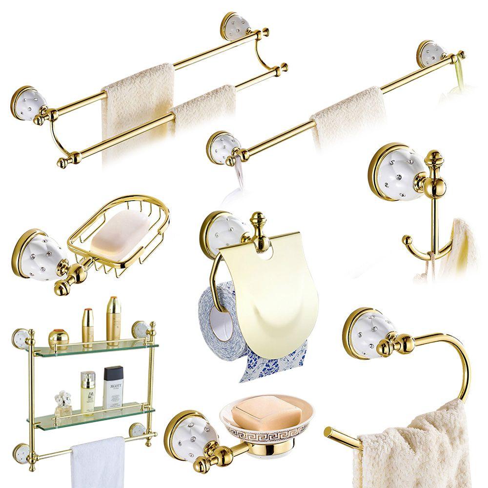 Solid Brass Gold Bathroom Hardware Sets Stars U0026 Crystal Bathroom  Accessories Sets Wall Mounted Bathroom Accessories
