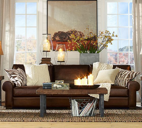 Brown Couch Living Room Design: Turner Leather Sofa Pottery Barn - Google Search