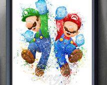 Mario And Luigi Super Mario Brothers Watercolor Poster   Watercolor  Painting   Watercolor Art   Home