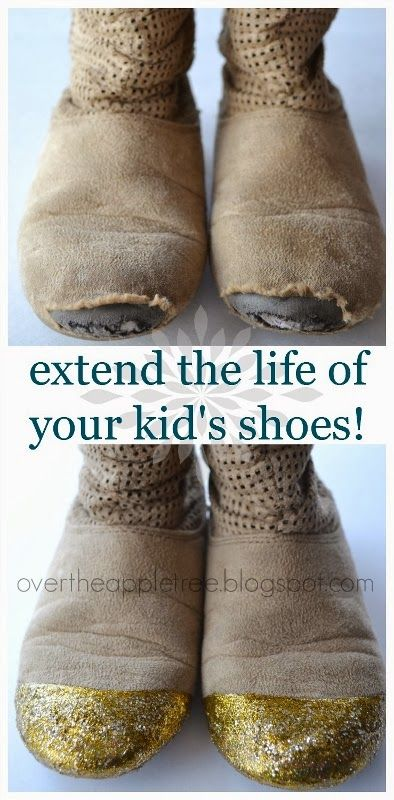 Diy Kid S Shoe Repair By Over The Apple Tree Don T Throw Those Away Yet Cover Holes With Dimensional Fabric Paint Maybe A L Shoe Repair Diy Shoes Boots Diy