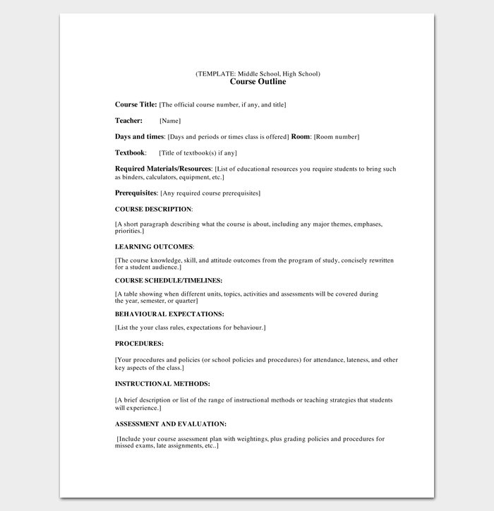 course outline template for middle and high school outline