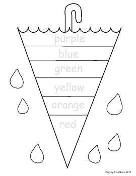 Color Word Umbrella NO PREP Free Sheet Preschool colors