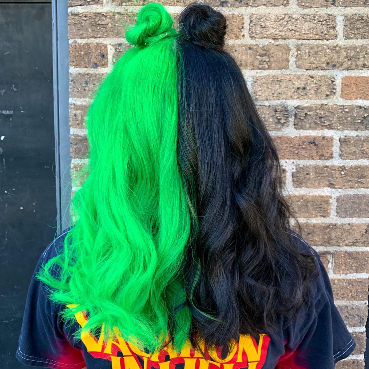Split Neon Green Hair Green Hair Neon Green Hair Split Dyed Hair