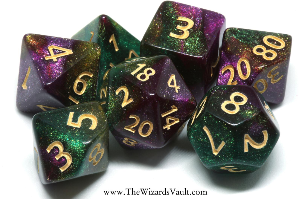 Mystical Dust Purple And Green Dnd Dice Opaque With Glitters Polyhedral Dice Set For Dungeons And Dragons Rpg Role Playing Games Dnd Glitter Dust Yellow Topaz