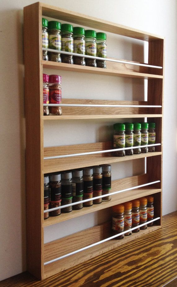 Solid Oak Spice Rack Contemporary Style 5 Shelves Freestanding Or Wall Mounted Wooden Spice Rack Wall Mounted Kitchen Storage Diy Kitchen Storage