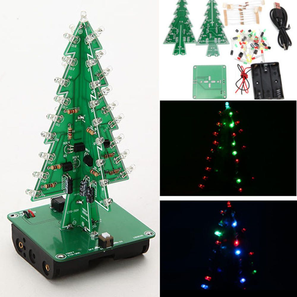 Geekcreit Diy Christmas Tree Led Flash Kit 3d Electronic Learning Kit Electronic Components Diy Kits From Electronics On Banggood Com Christmas Tree Kit Diy Christmas Tree Christmas Decorations Tree
