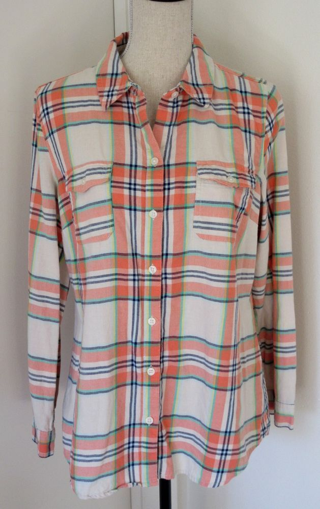 302eb40e Old Navy Orange Cream Navy Plaid Button Down Flannel Shirt Size L Large  Womens #OldNavy #ButtonDownShirt #Casual