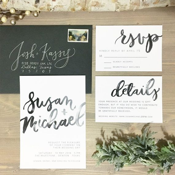 Watercolor Brush Lettering Wedding Invitation Set Modern Wedding
