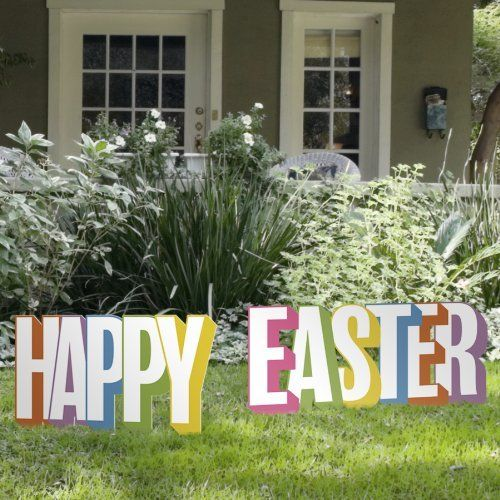 Happy Easter Standing Letters Yard Art Sign By Outdoor Nativity Store 60 00 Measures 64 Inches Wide And 15 Easter Yard Decorations Outdoor Nativity Yard Art