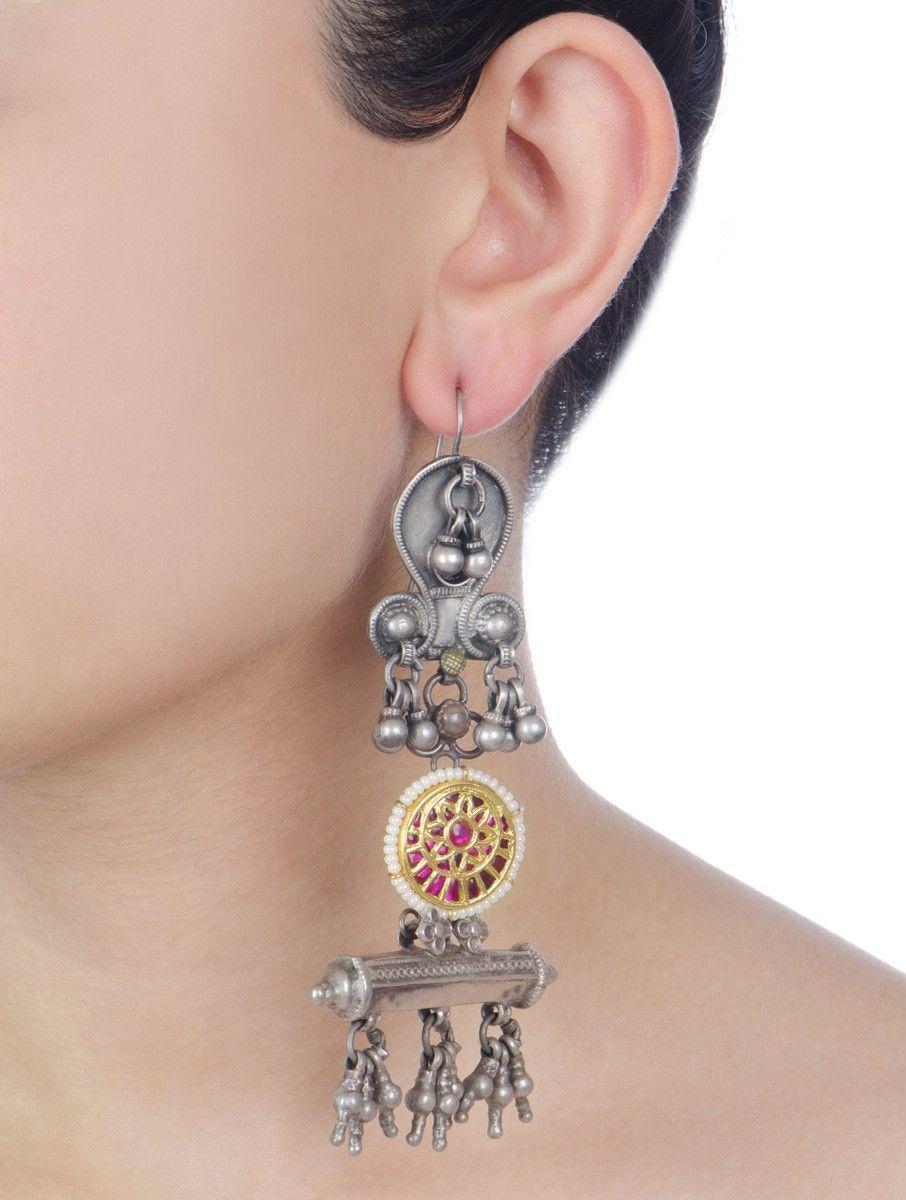 e033859b8 Buy Silver Golden Pink Taabiz Jadau Work Drop Earrings Pearl Glass Jewelry  The Gate Traditional Online at Jaypore.com