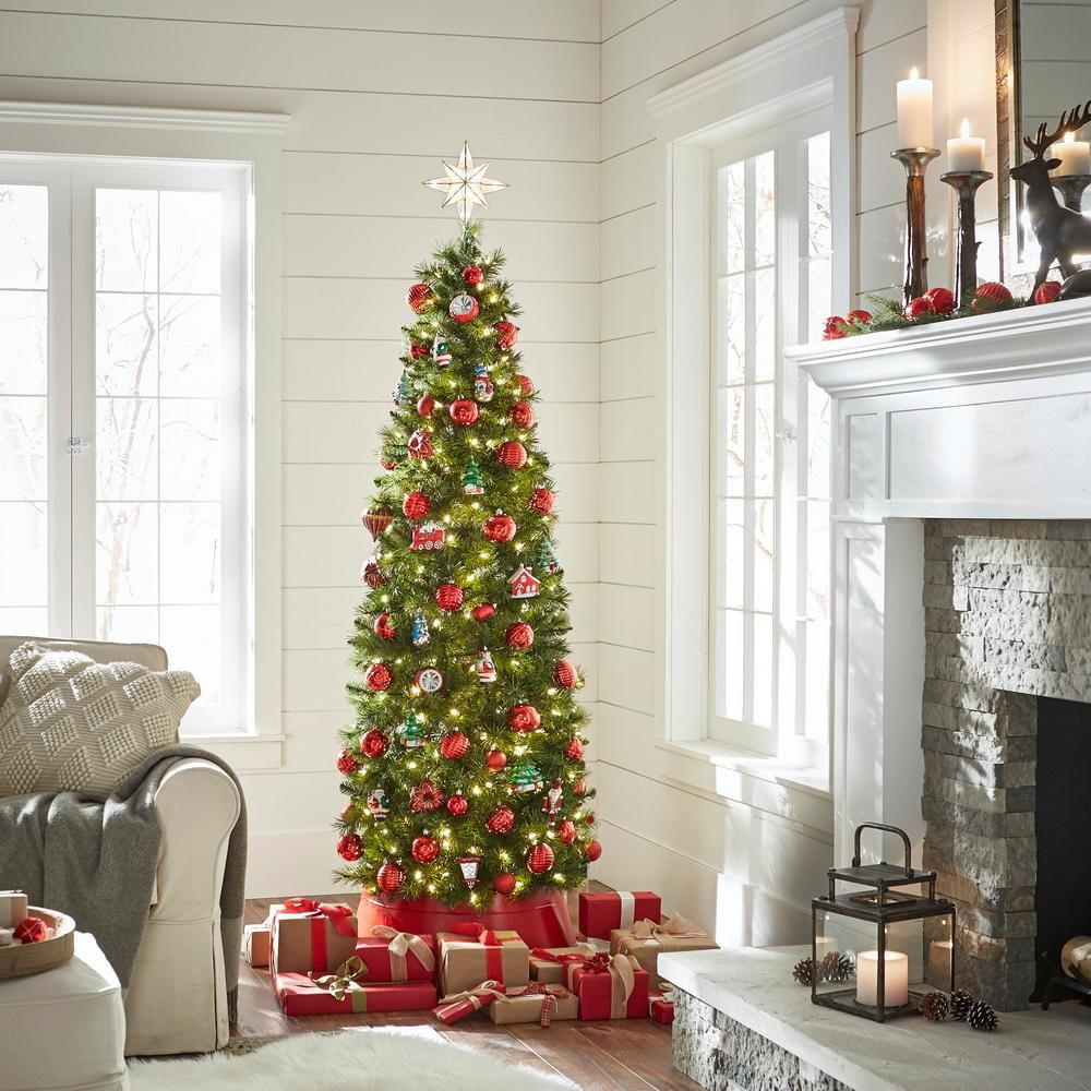 Home Accents Holiday 7 Ft Pre Lit Led Wesley Pencil Spruce Artificial Christmas Tree With 300 Warm Whit Holiday Decor Artificial Christmas Tree Christmas Tree