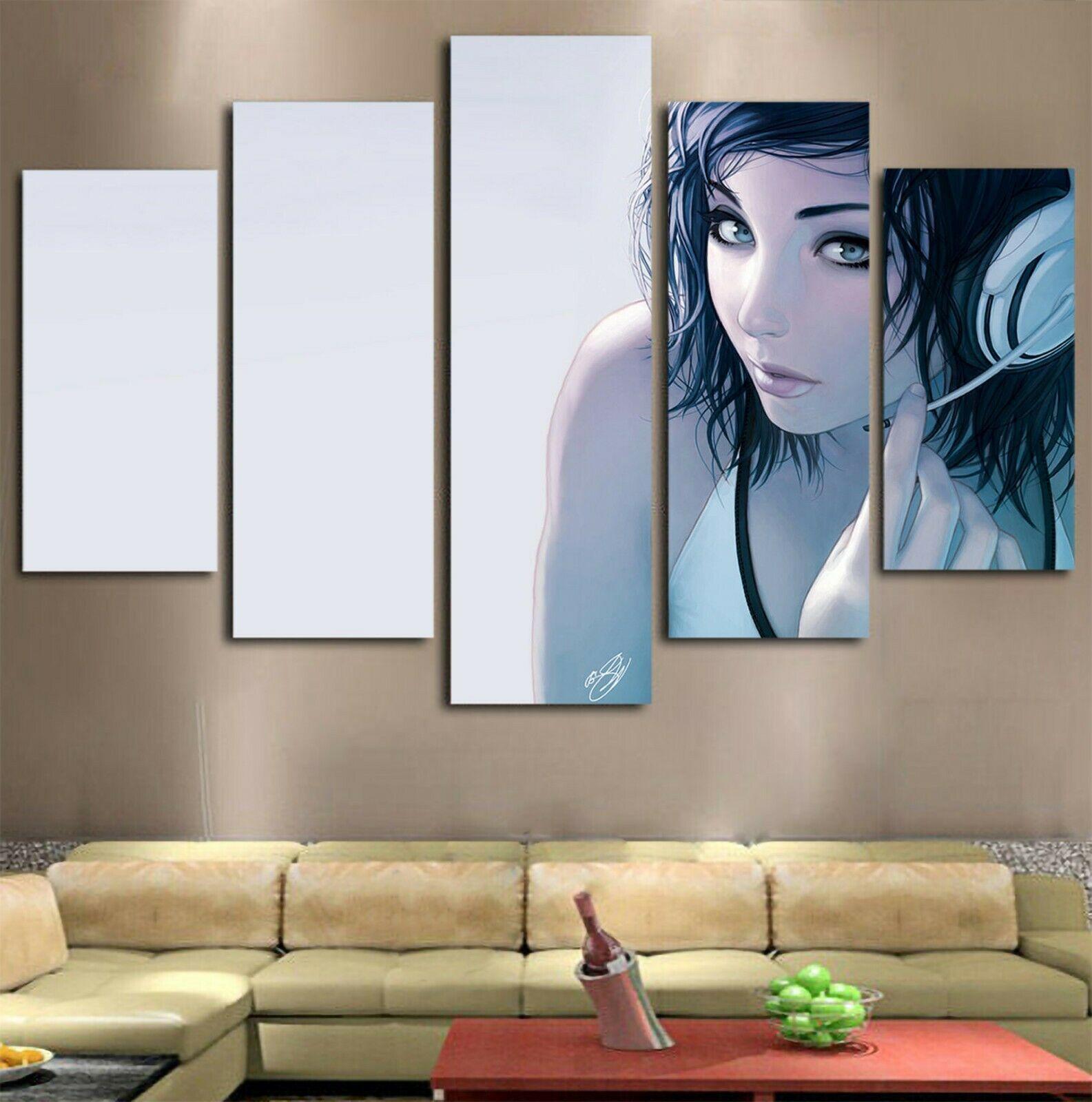 Hot Anime Gamer Girl Drawing Modern Art Canvas Wall Art Home Decor Framed 5pcs Ebay Modern Canvas Art Modern Art Pictures Canvas Wall Art