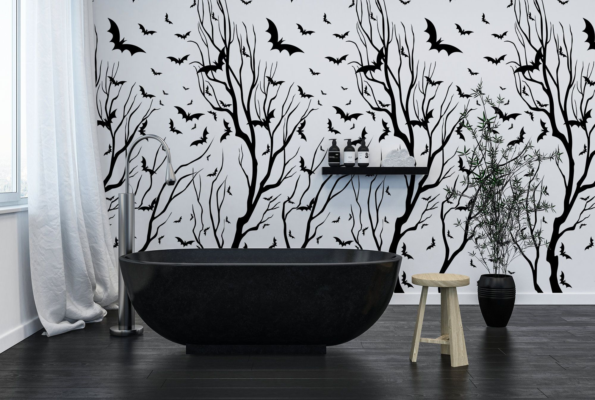 Black And White Trees Wall Mural Self Adhesive Wallpaper Etsy Tree Wall Murals Bird Wall Decor Minimalist Wall Stickers