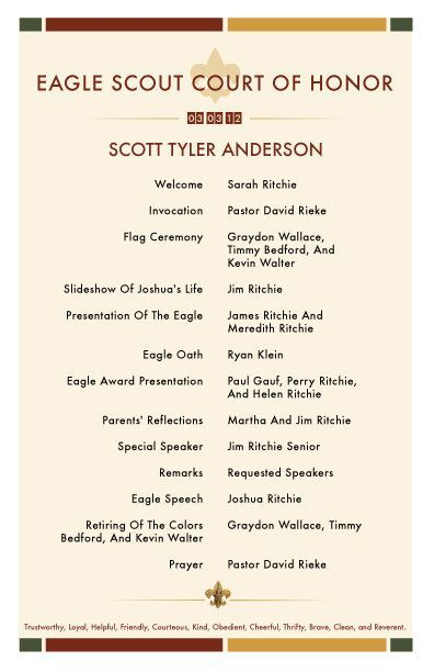 Eagle Scout Court of Honor Invitations and Programs by - eagle scout recommendation letter sample