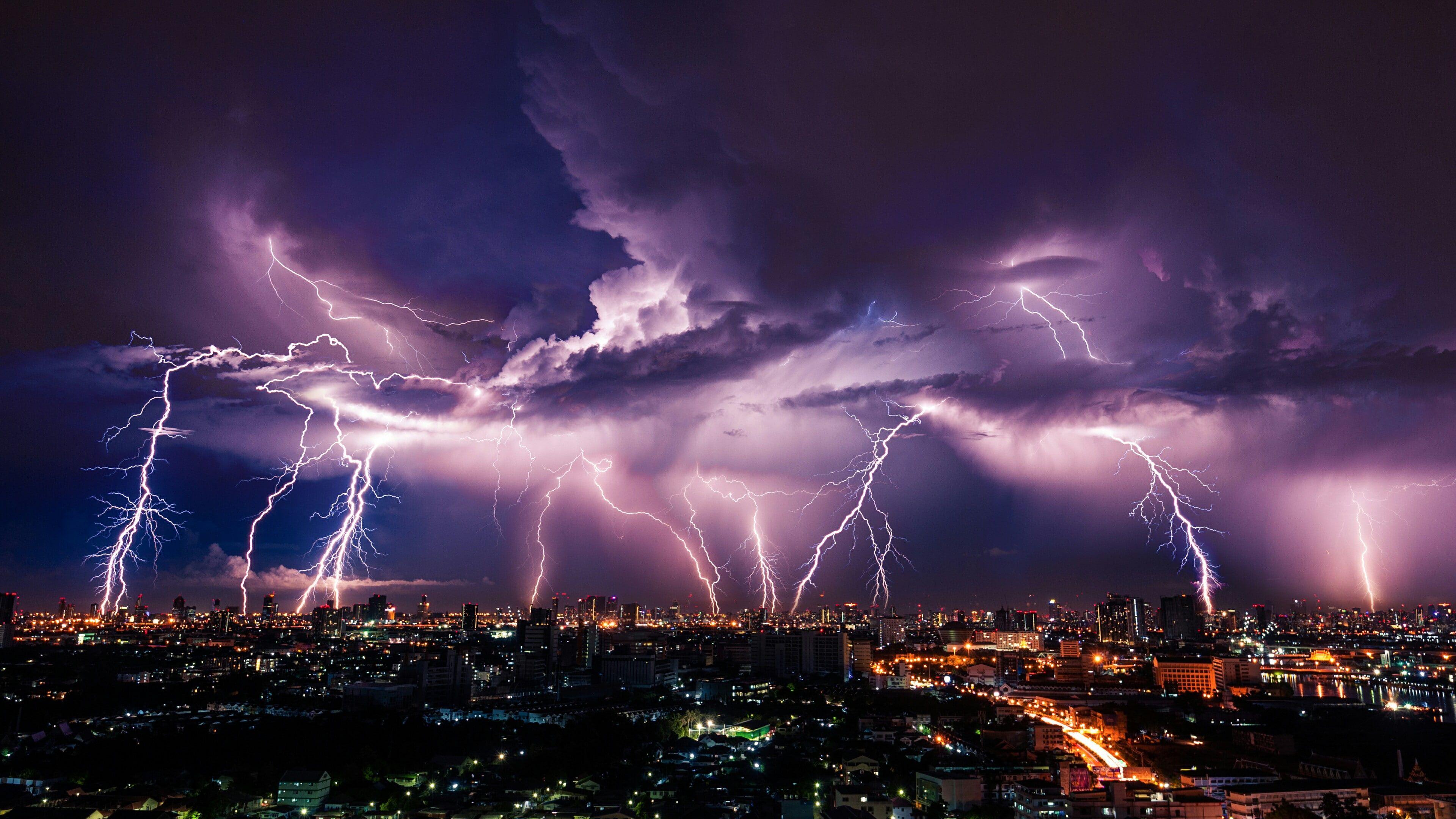 Lightning Sky Thunder City Thunderstorm Night Cloud Cityscape Phenomenon Metropolis Storm Evening 4k Lightning Sky Thunder And Lightning Lightning