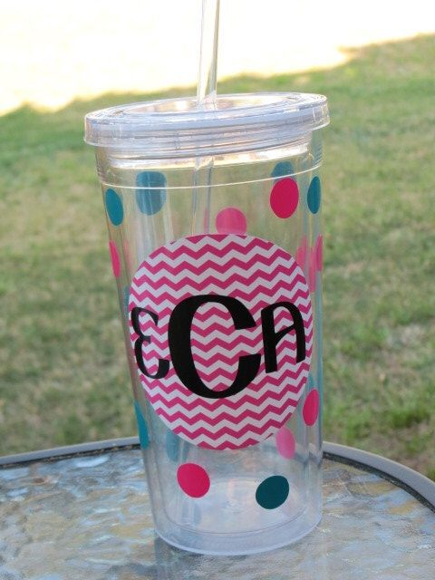 Monogrammed cup with lid and straw by SugarStitchesDesigns on Etsy https://www.etsy.com/listing/187746436/monogrammed-cup-with-lid-and-straw