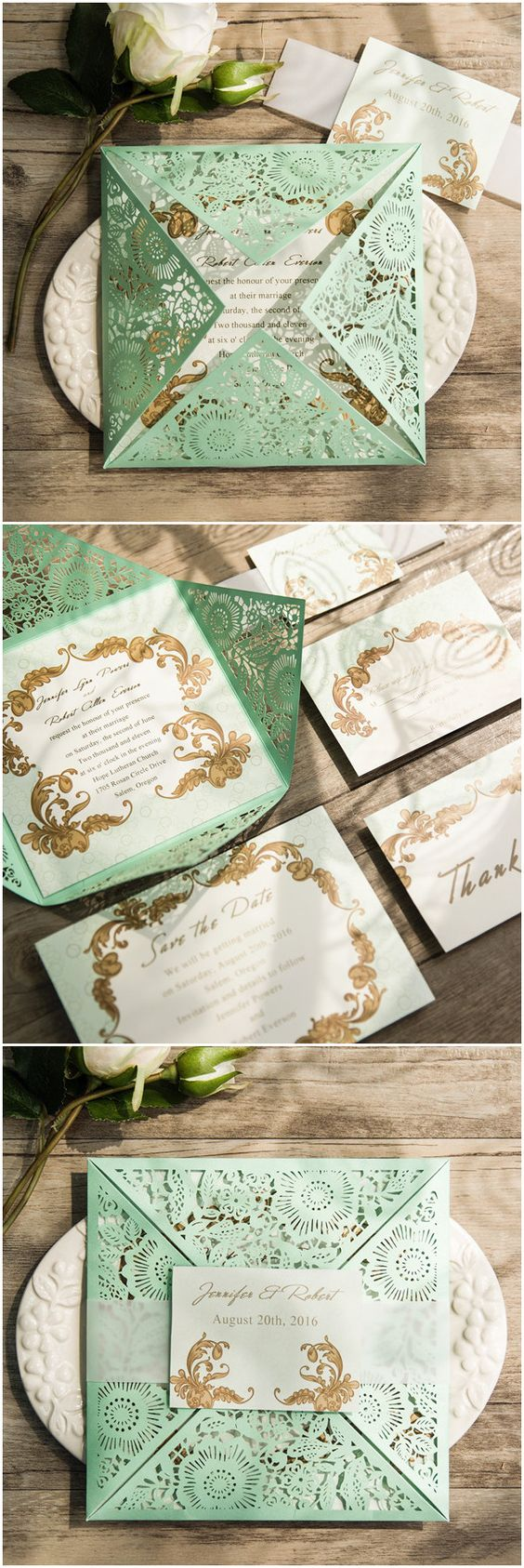 Vintage Mint Green Laser Cut Wedding Invitations With Free Rsvp