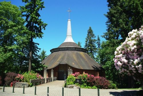 The Agnes Flanagan Chapel on the Lewis and Clark College campus, the site of various religious services and...
