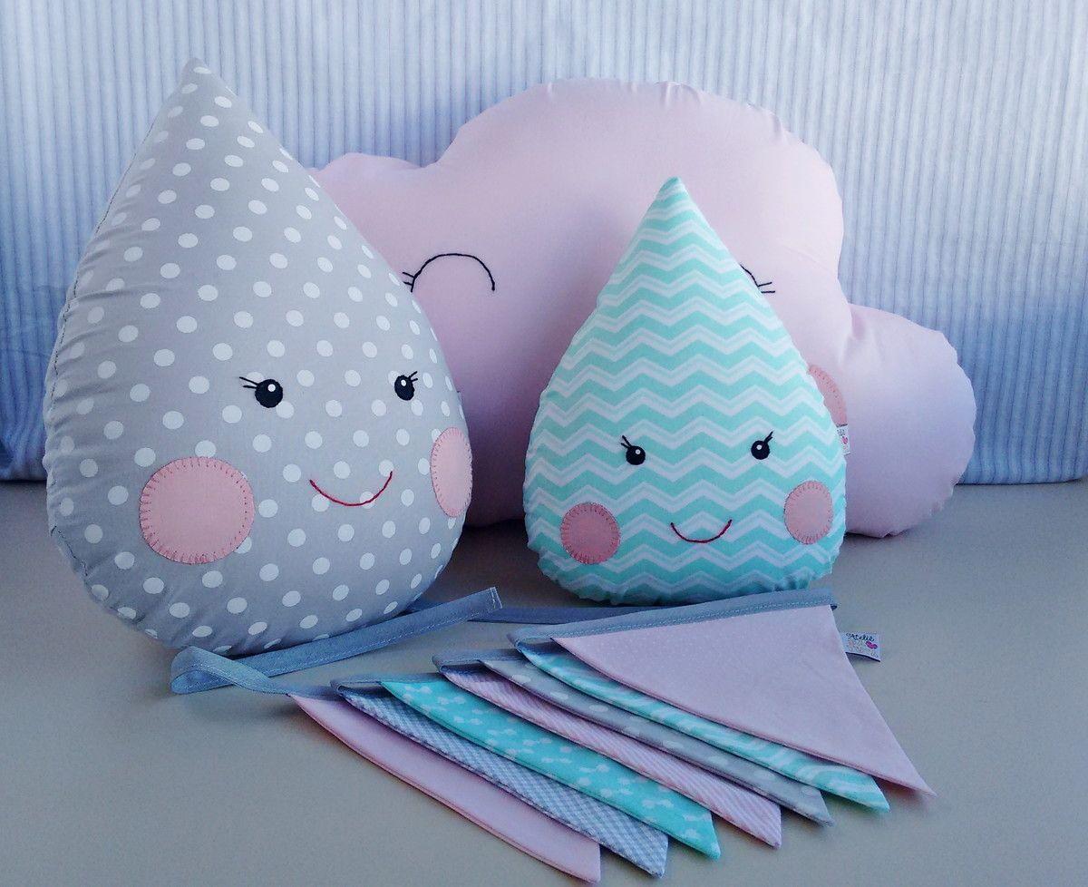 a724a1462dbe43 Kit de almofadas decorativas, contendo uma almofada nuvem rosa bb ...