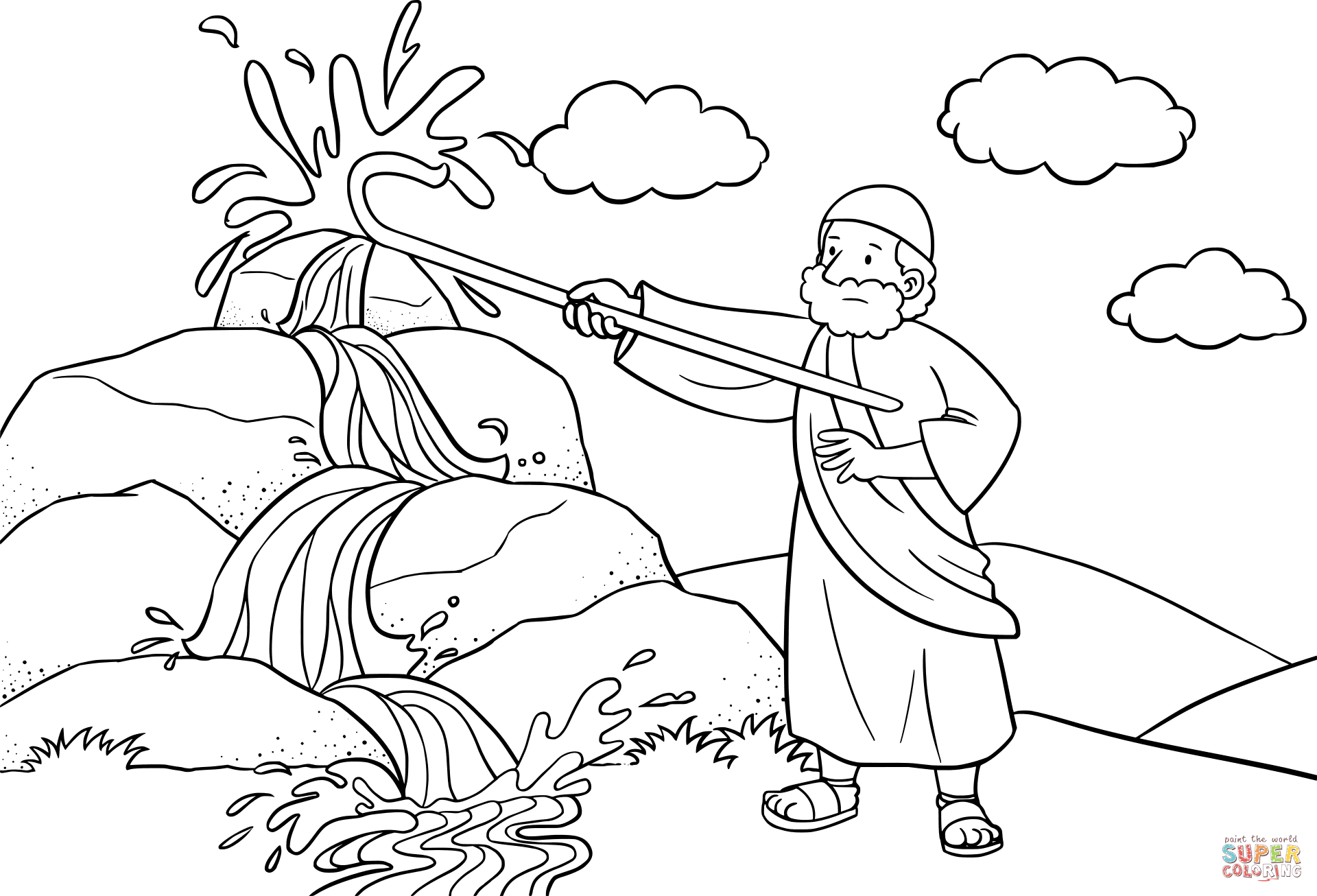 Moses Strikes the Rock with His Staff coloring page from