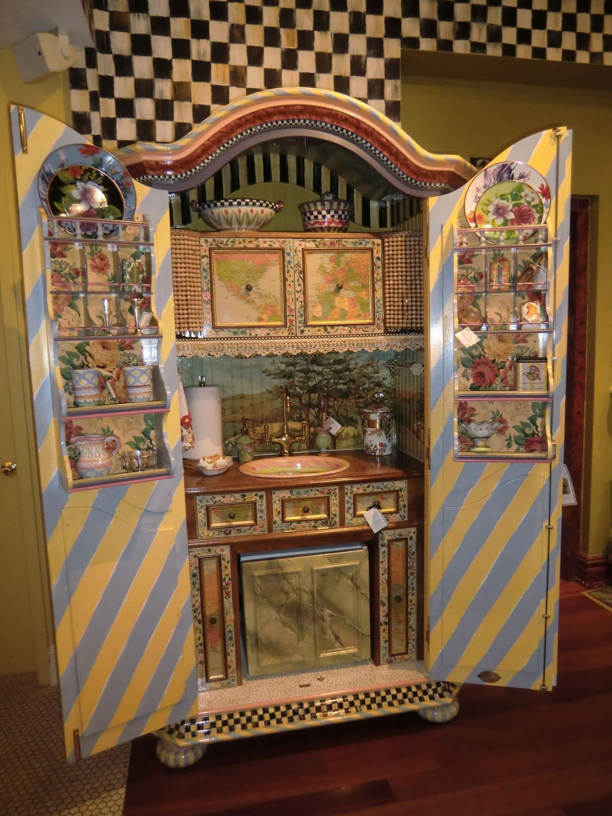 MacKenzie Childs Complete Armoire Kitchen! (Possible DIY Shabby Craft  Center/Wrapping Paper:
