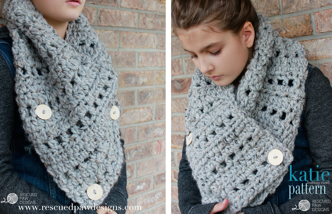 FREE CROCHET PATTERN || The Katie Button Cowl || Crochet Pattern by Rescued Paw Designs Check out this blog for some lovely free patterns