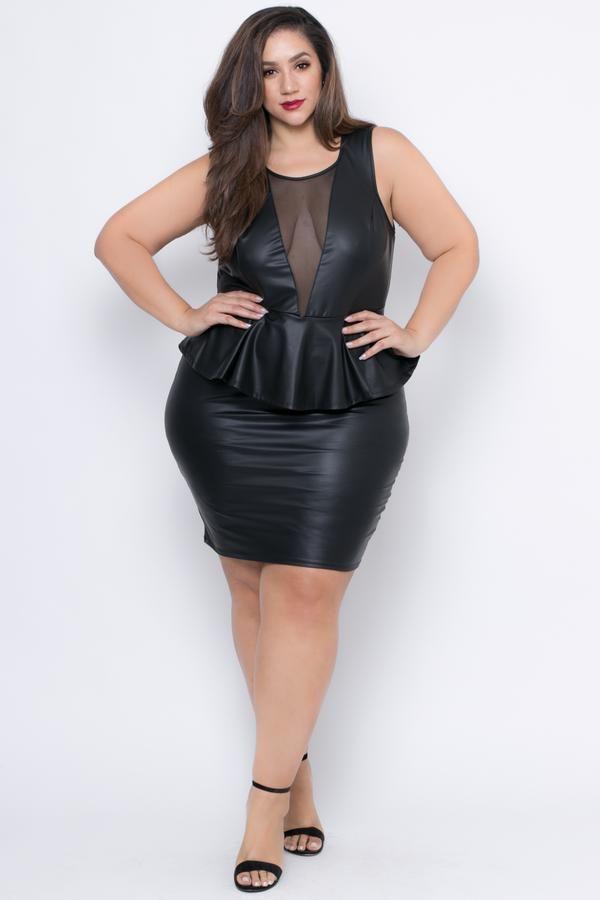 Plus Size Faux Leather Peplum Dress Black Leather Peplum Peplum