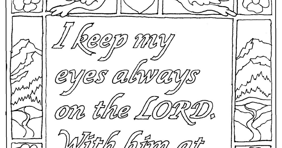 Psalm 16 8 Printable Coloring Page Scripture Verses Psalms
