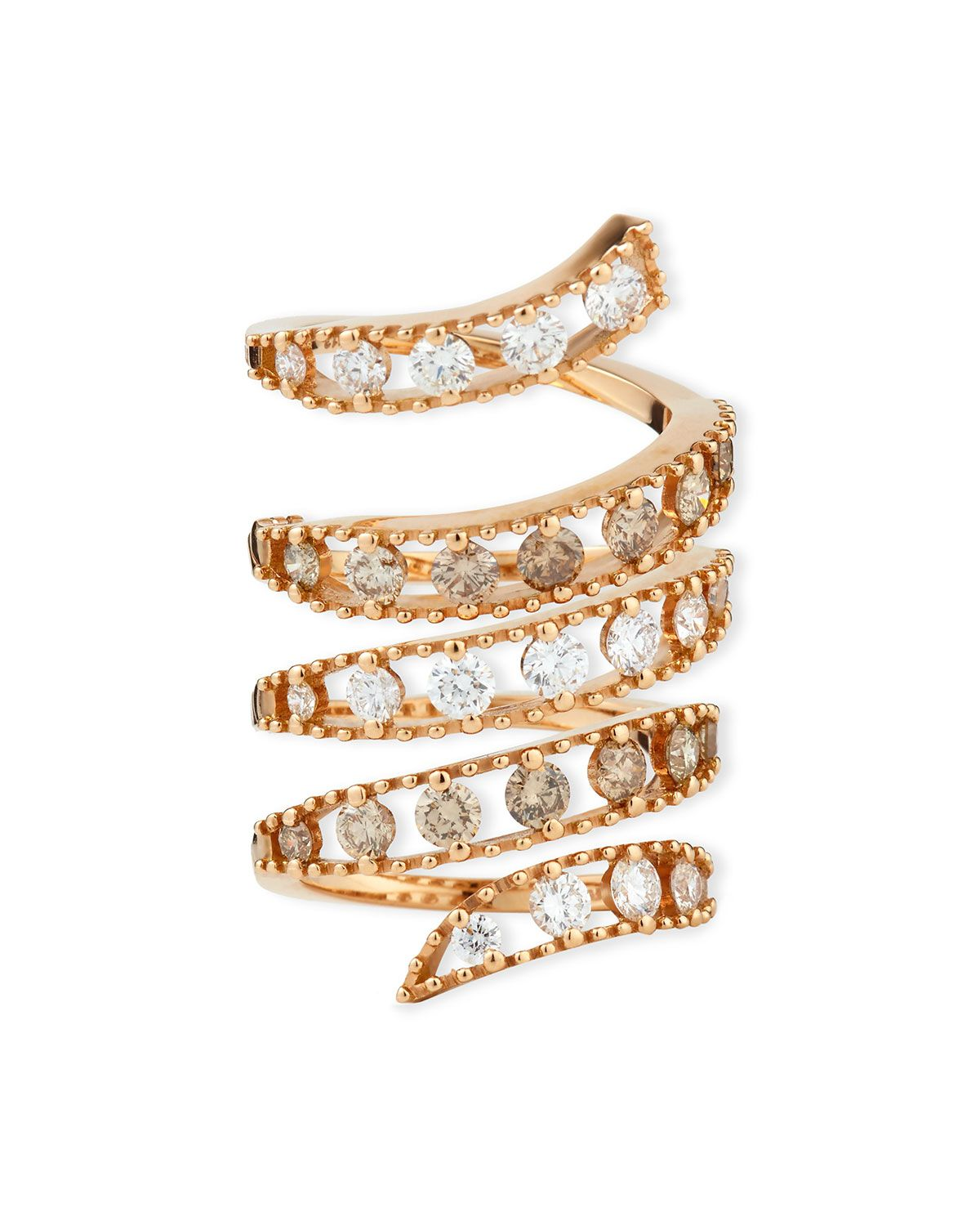 Staurino Fratelli Magic Snake 18K Rose Gold Flex Ring with Diamonds
