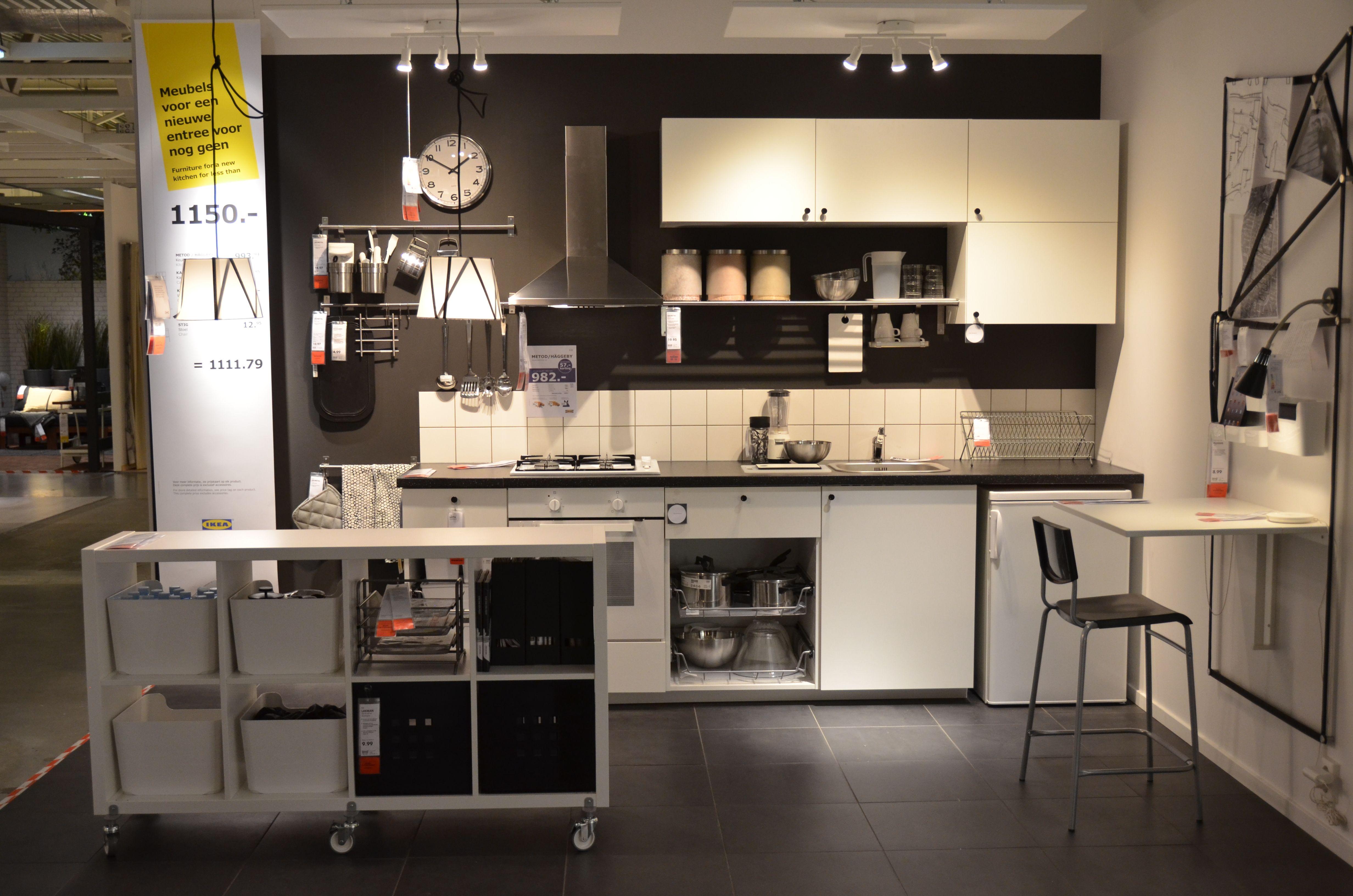 Kitchen shelving units  IKEA Delft  black and white kitchen  METOD kitchen  KALLAX