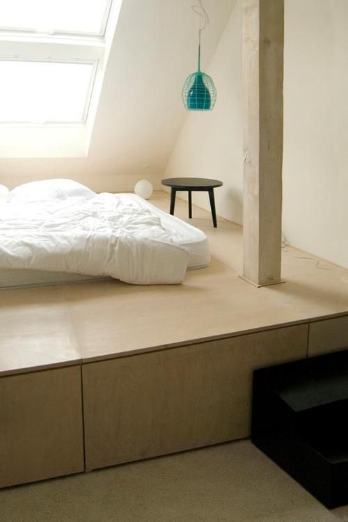 bed platform with underbed storage. like the lamp too