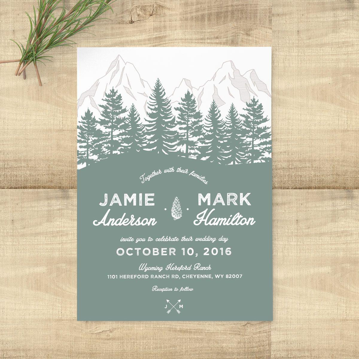 Forest Rustic Sage Wedding Suite | Wedding Invitations Pixie Chicago ...