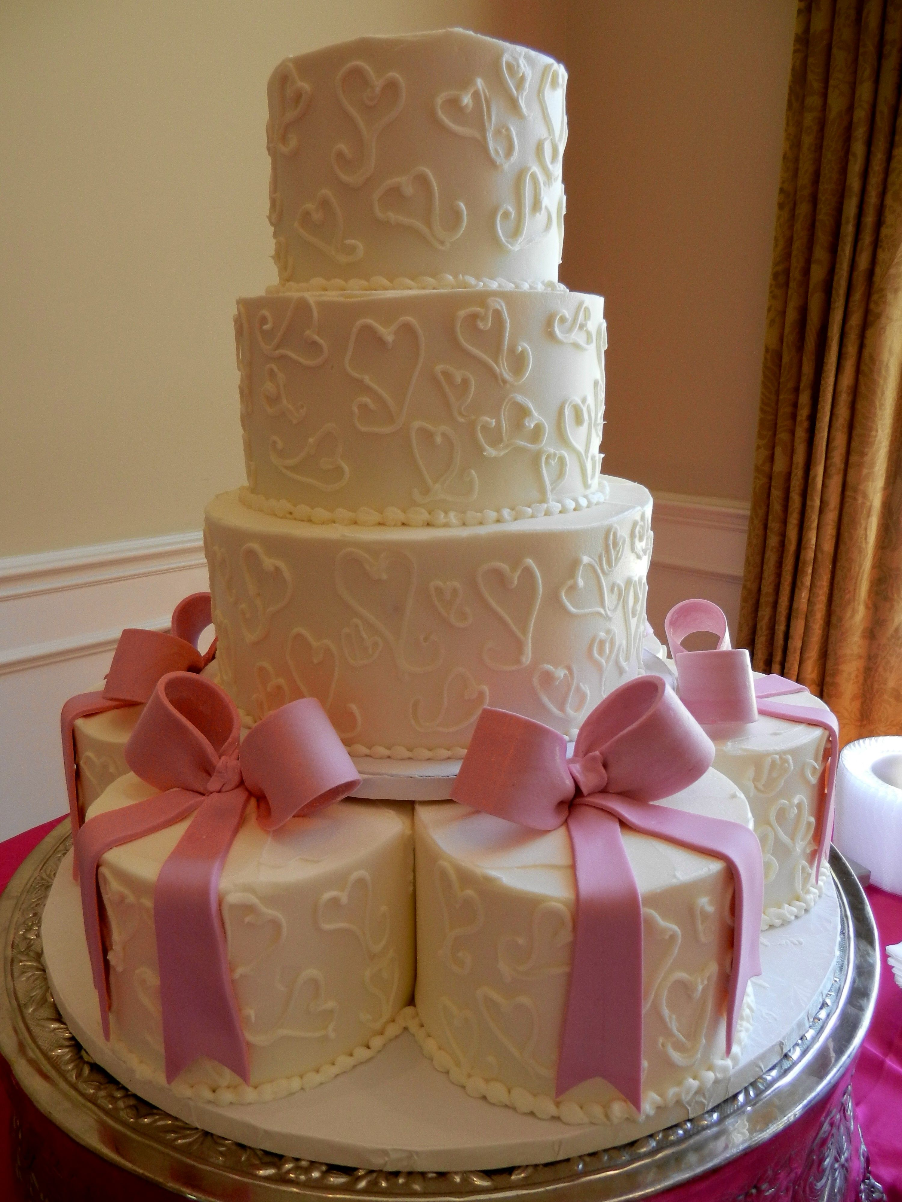 Charming Hearts And Bows Wedding Cake Www.cheesecakeetc.biz Wedding Cakes Charlotte  NC