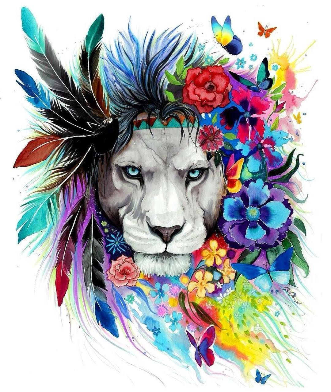 b1c7cb123 Colorful lion with headdress. | Felines in 2019 | Lion tattoo, Lion ...
