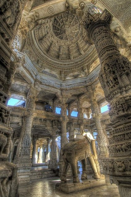 Ranakpur Temple, Rajasthan, India.  Unimaginably exquisite and unique carvings on white marble surface of 2000 or so pillars everywhere you look.
