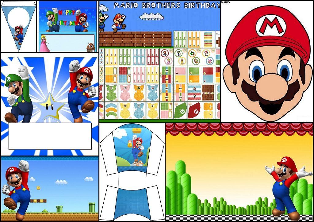 Super Mario Bros Kits Para Imprimir Gratis Máscaras Y Más Fiesta De Cumpleaños De Mario Fiesta De Mario Mario Bros