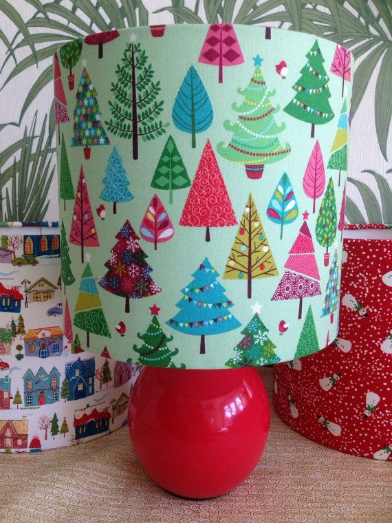 Christmas trees handmade lampshade in any size by BrightenUpUK