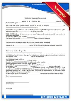 Free Printable Catering Services Agreement Sample Printable Legal Forms Catering Services Starting A Catering Business Catering