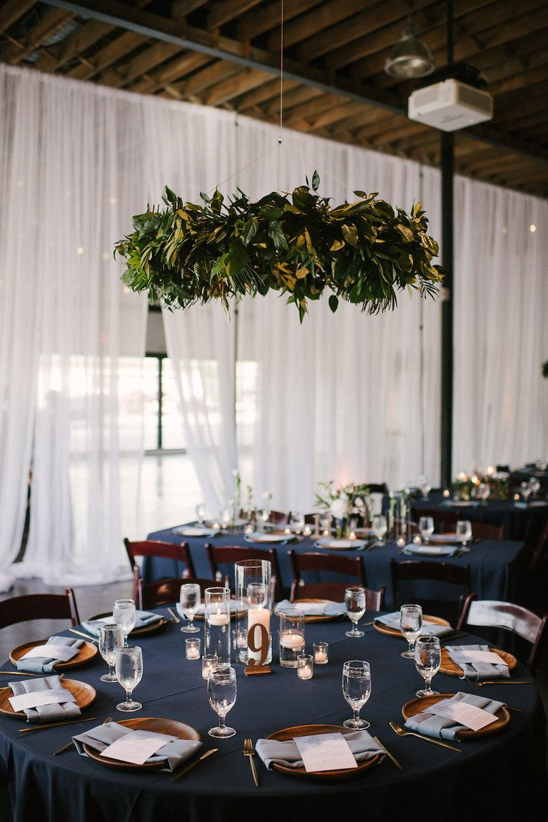 Romantic Navy Blue And Greenery Inspired Lakeland Wedding Haus 820 Wedding Table Linens Round Table Decor Table Decorations