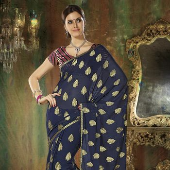 Dark Blue Faux Chiffon Saree With Blouse