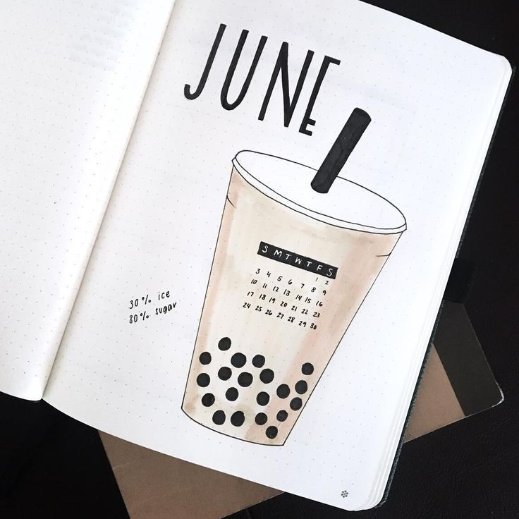 Bullet journal monthly cover page, June cover page, bubble tea drawing. | @amy.studies #bulletjournalideas