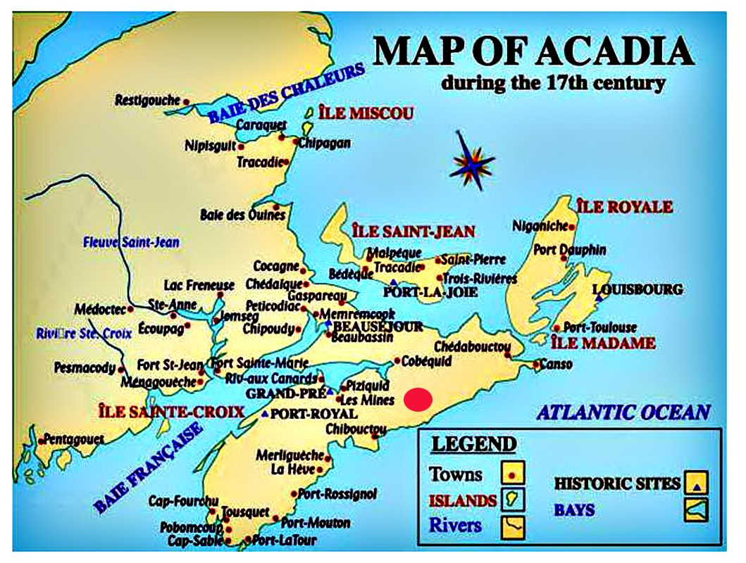 Acadie Canada Map Carte de l'Acadie | Genealogy map, Canadian history, Genealogy