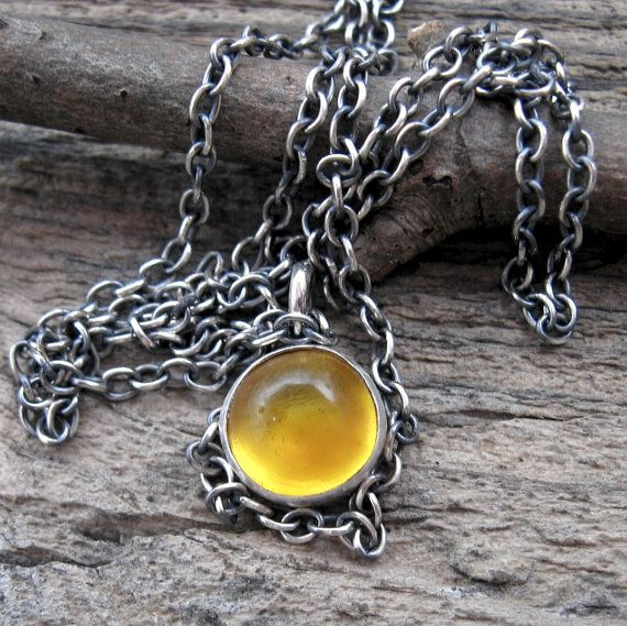 Amber Button Necklace Amber necklace  sterling by LisasLovlies, $49.50