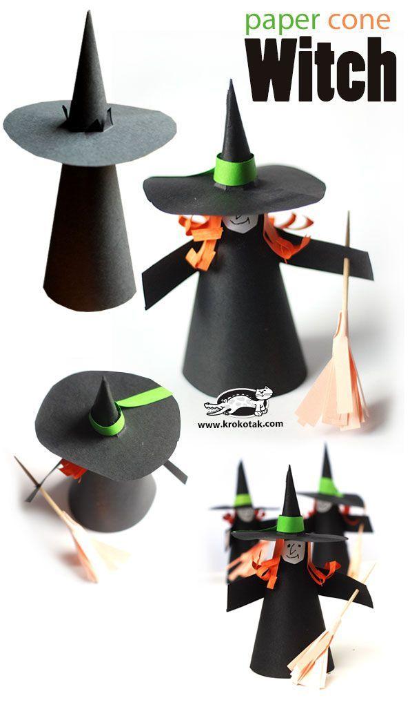 paper cone witch halloween craft halloween pinterest halloween basteln und m rchen f r. Black Bedroom Furniture Sets. Home Design Ideas