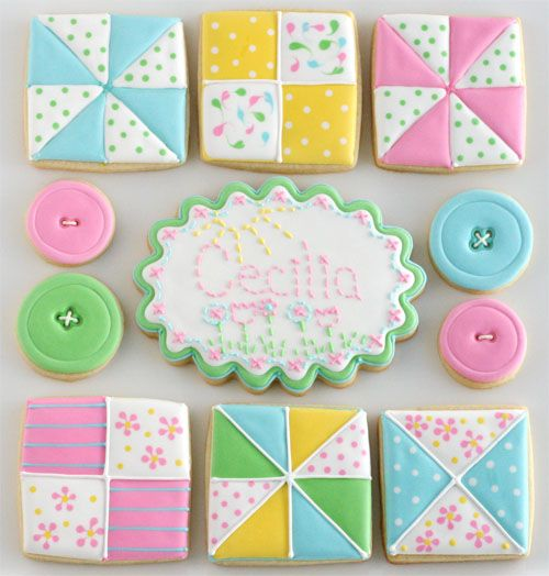 sewing and quilt cookies! This would be great for a Bridal/baby shower. People could bring a quilt square to make a quilt.