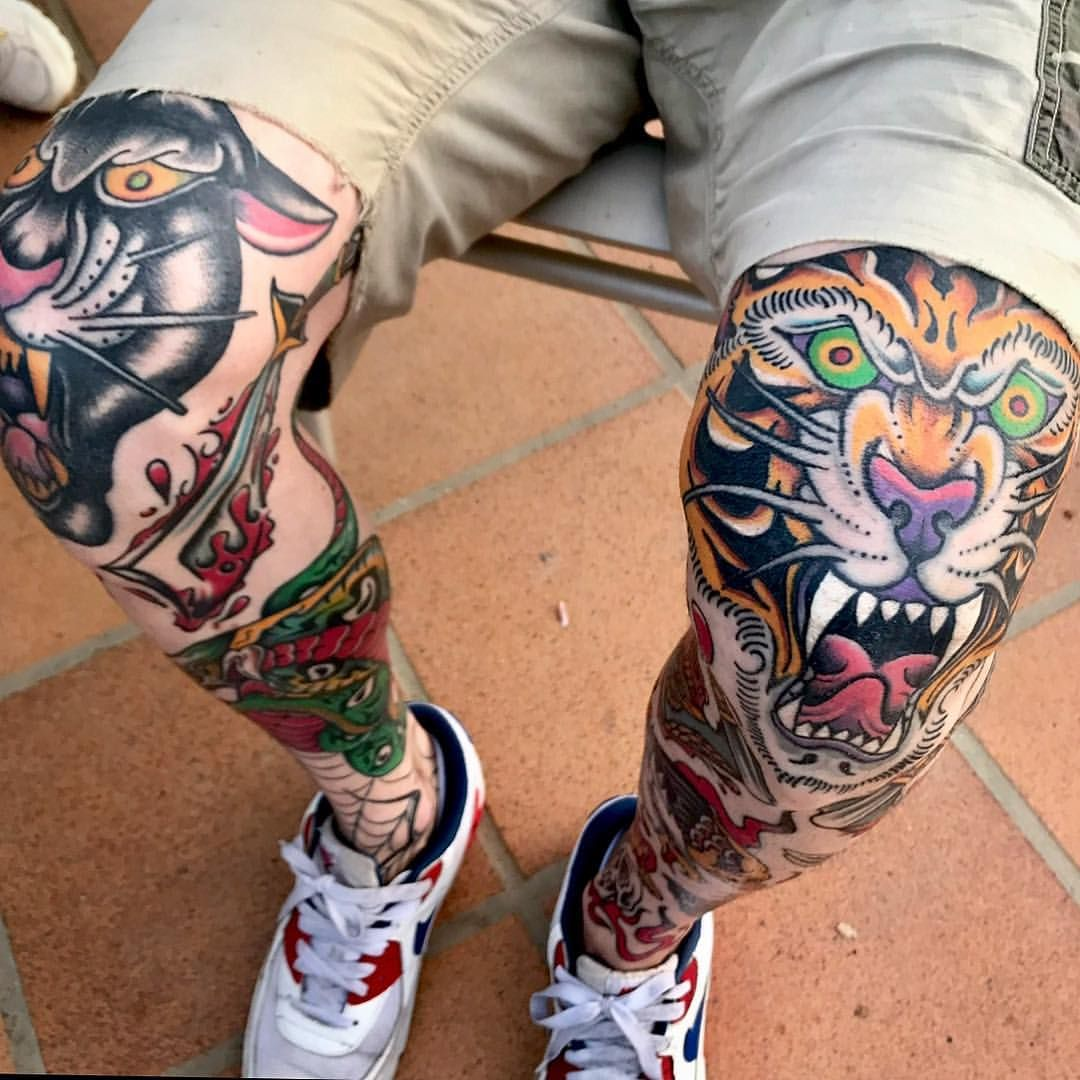 Pin By Richard Abq On Peterson Tattoo Traditional Tattoo Knee Knee Tattoo Traditional Tattoo Man